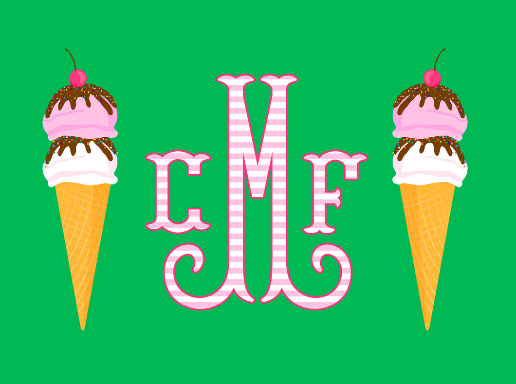 Ice Cream Personalized Folded Note Cards