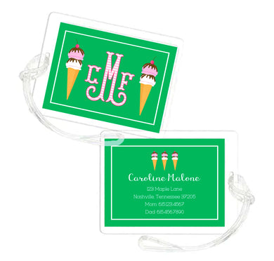Ice Cream Personalized Laminated Bag Tag