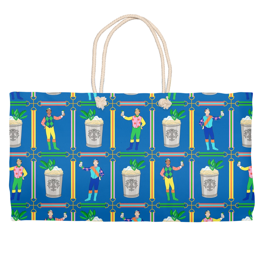 Jockeys & Juleps Personalized Tote Bag, Blue Ribbon