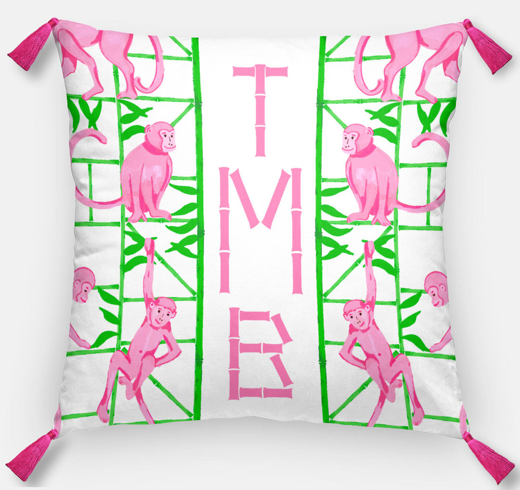 Monkey Trapeze Trellis, Jungle, Personalized Pillow, 18