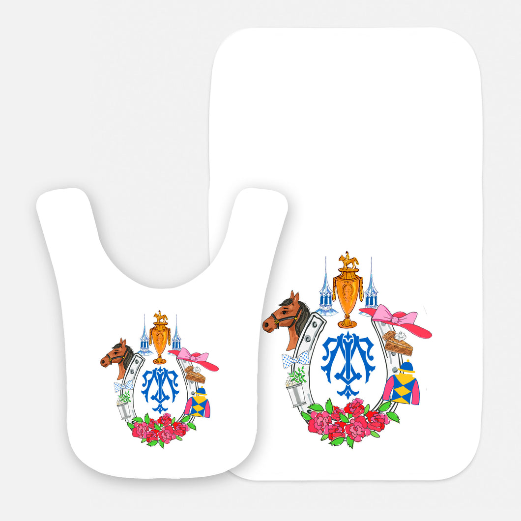 Kentucky Derby Custom Crest Personalized Bib & Burp Cloth Gift Set