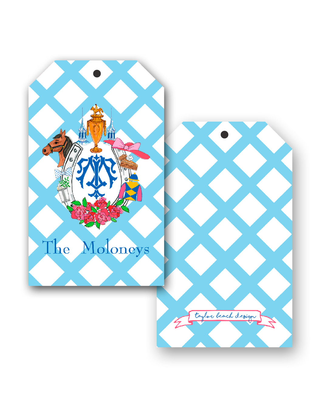 Kentucky Derby Custom Crest Personalized Gift Tags
