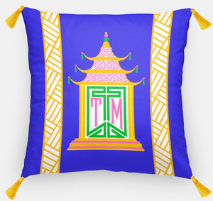 "Royal Pagoda Personalized Pillow, Lapis,18""x18"" or 20""x20"""