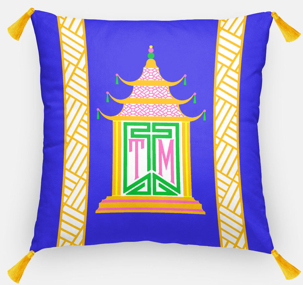 Royal Pagoda Personalized Pillow, Lapis,18