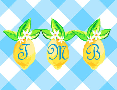 Lovely Lemon, Orchard Skies, Personalized Folded Note Cards