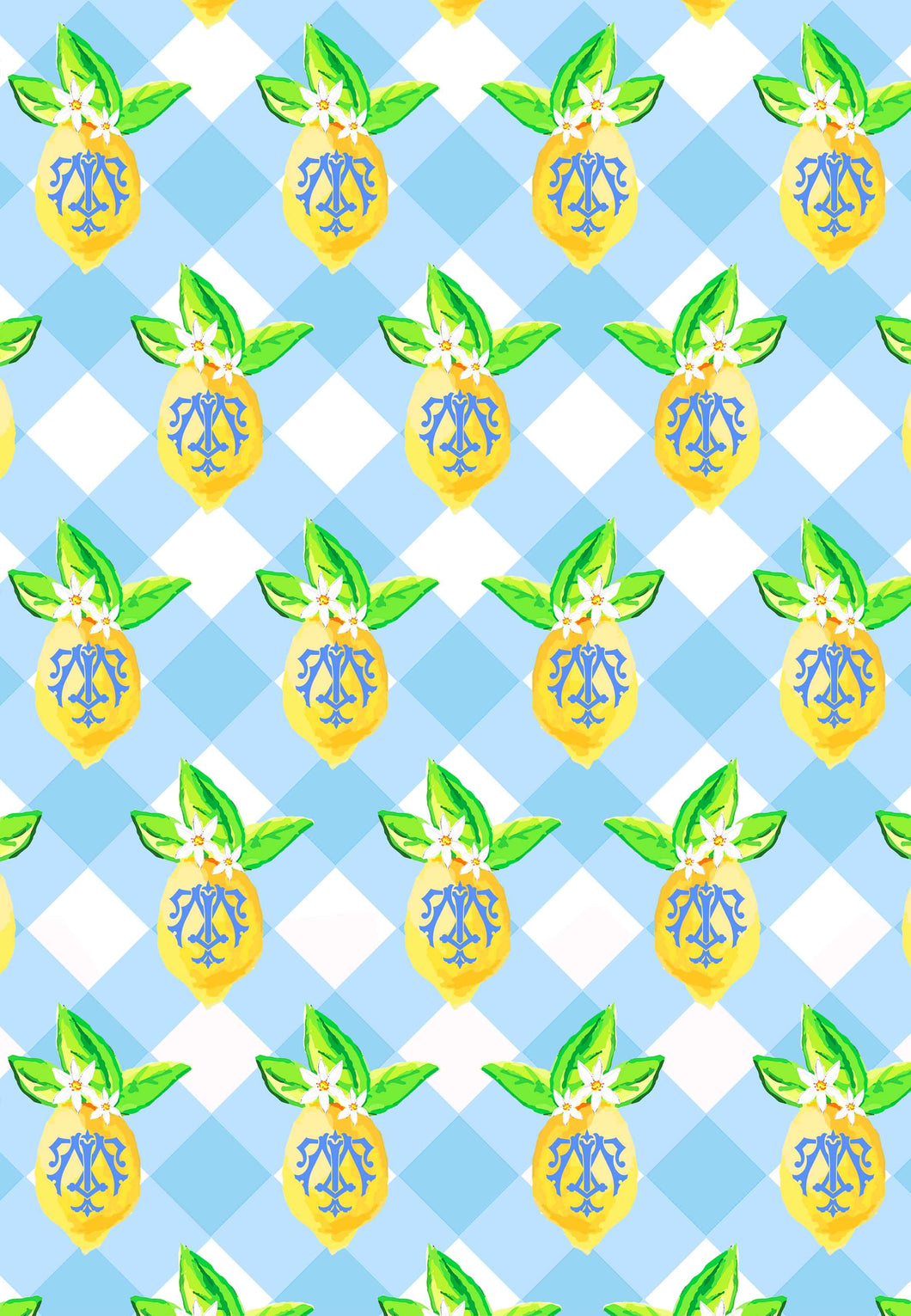 Lemon Buffalo Check Gift Wrap