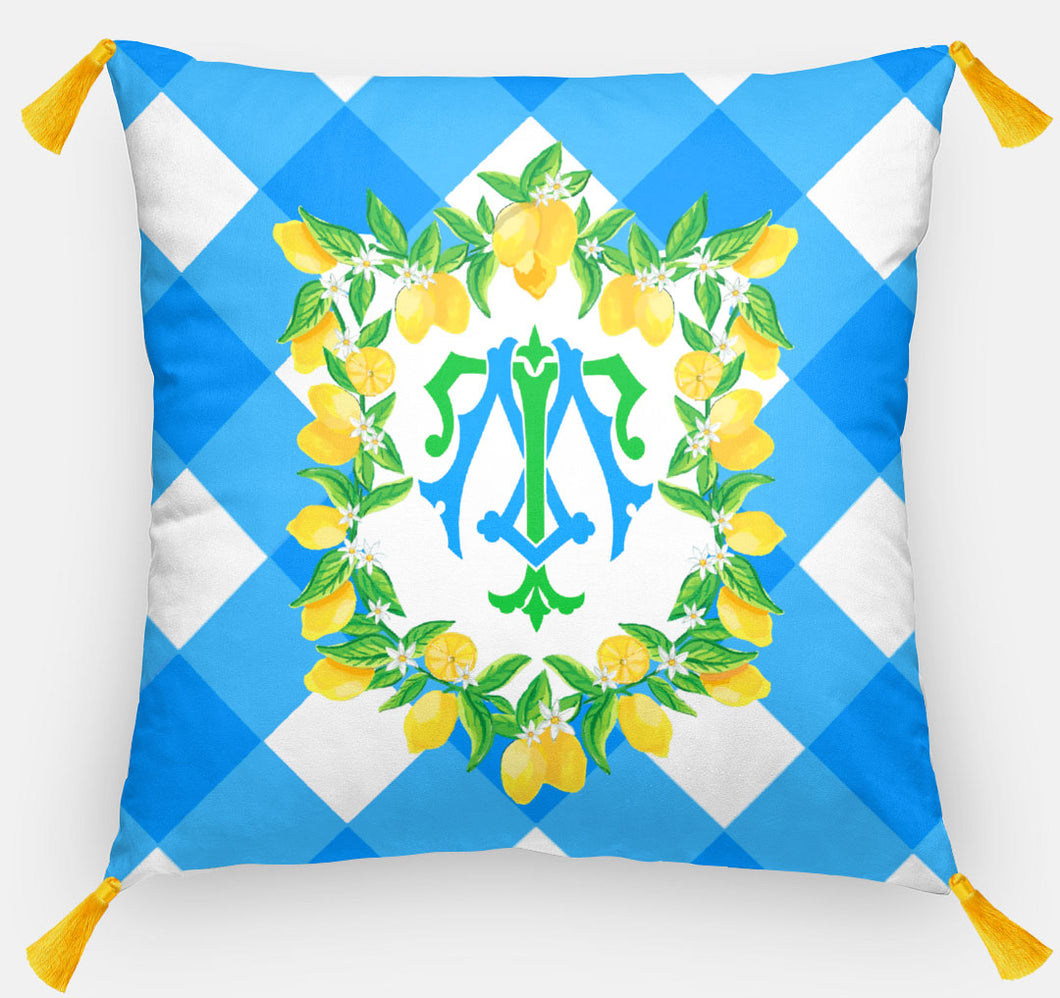 Lemon Crest Personalized Pillow, Picnic in the Grove, 18