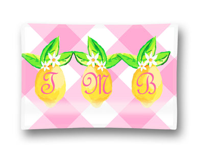 Lovely Lemon, Pink Lemonade, Personalized Glass Trinket Dish, 5