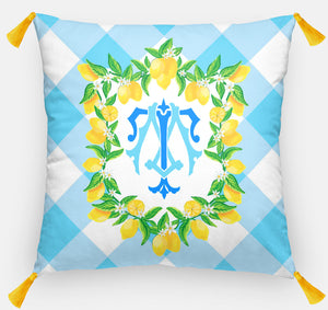 "Lemon Crest Personalized Pillow, Orchard Sky ,18""x18"" or 20""x20"", (2) Monogram Styles"