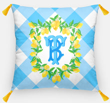 "Load image into Gallery viewer, Lemon Crest Personalized Pillow, Orchard Sky ,18""x18"" or 20""x20"", (2) Monogram Styles"