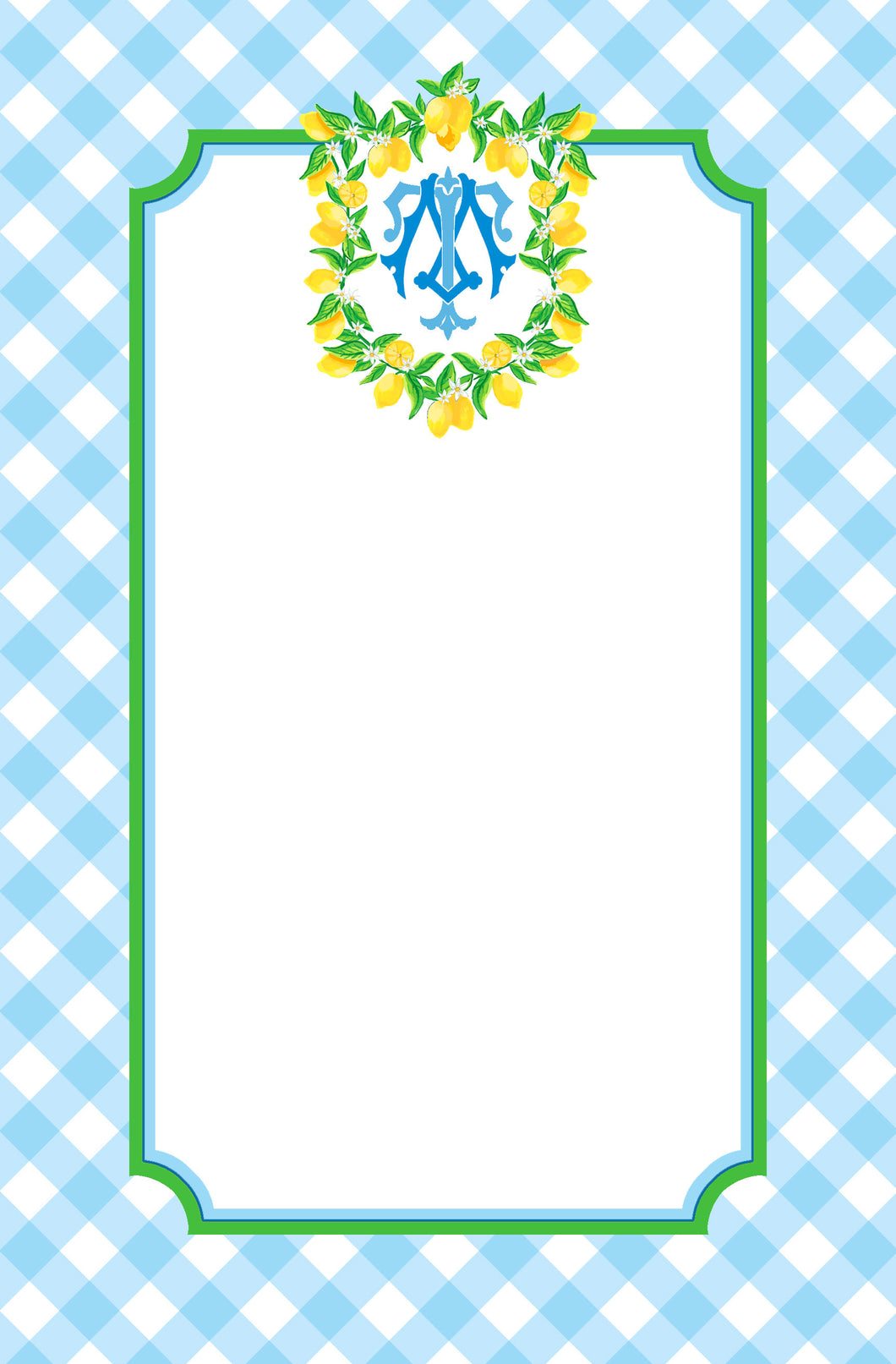 Lemon Crest Personalized Notepad, Blue Skies, Multiple Sizes Available