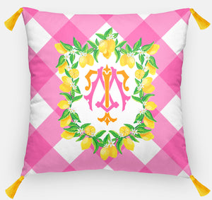 "Lemon Crest Personalized Pillow, Party Punch,18""x18"" or 20""x20"""