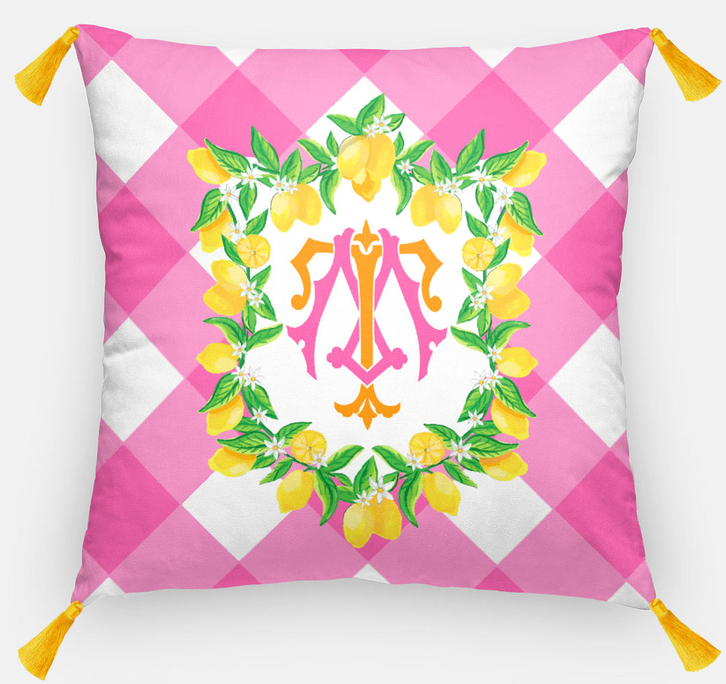 Lemon Crest Personalized Pillow, Party Punch,18