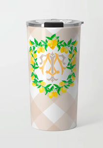 Lemon Crest, Meringue, Stainless Steel Travel Tumbler