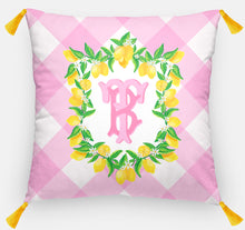 "Load image into Gallery viewer, Lemon Crest Personalized Pillow, Pink Lemonade,18""x18"" or 20""x20"", (2) Monogram Styles"