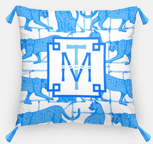 "Leopards & Lattice Personalized Pillow, Indigo, Euro Pillow & Insert, 26""x26"""