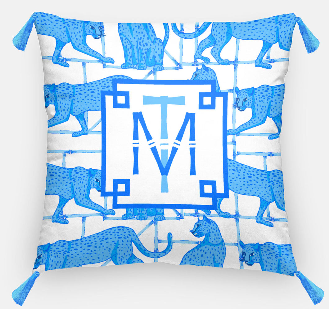 Leopards & Lattice Personalized Pillow, Indigo, Euro Pillow & Insert, 26