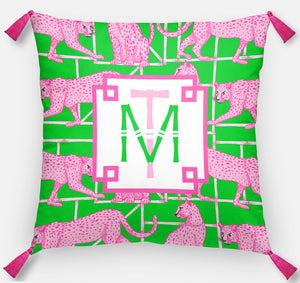 "Leopards & Lattice Personalized Pillow, Peony, 18""x18"" or 20""x20"""