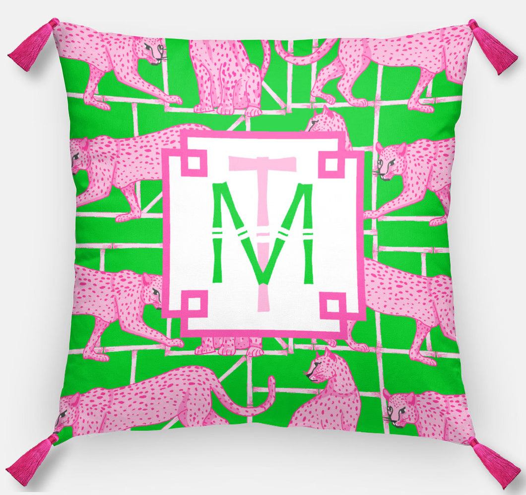Leopards & Lattice Personalized Pillow, Peony, 18