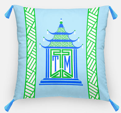 Royal Pagoda Personalized Pillow, Aquamarine,18