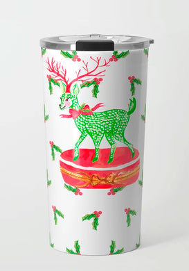 Limoges Christmas Reindeer Holiday Travel Tumbler