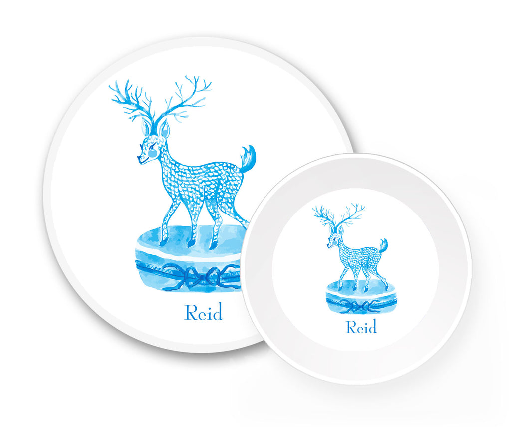 Limoges Christmas Reindeer Personalized Holiday Melamine Plate & Bowl Set, Blue