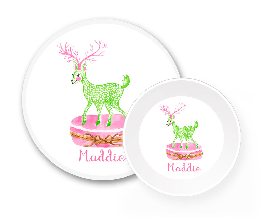Limoges Christmas Reindeer Personalized Holiday Melamine Plate & Bowl Set, Pink