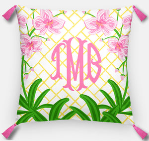 Pink Orchid Personalized Pillow