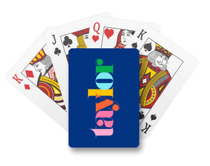 Make It Mine Personalized Playing Cards, Navy