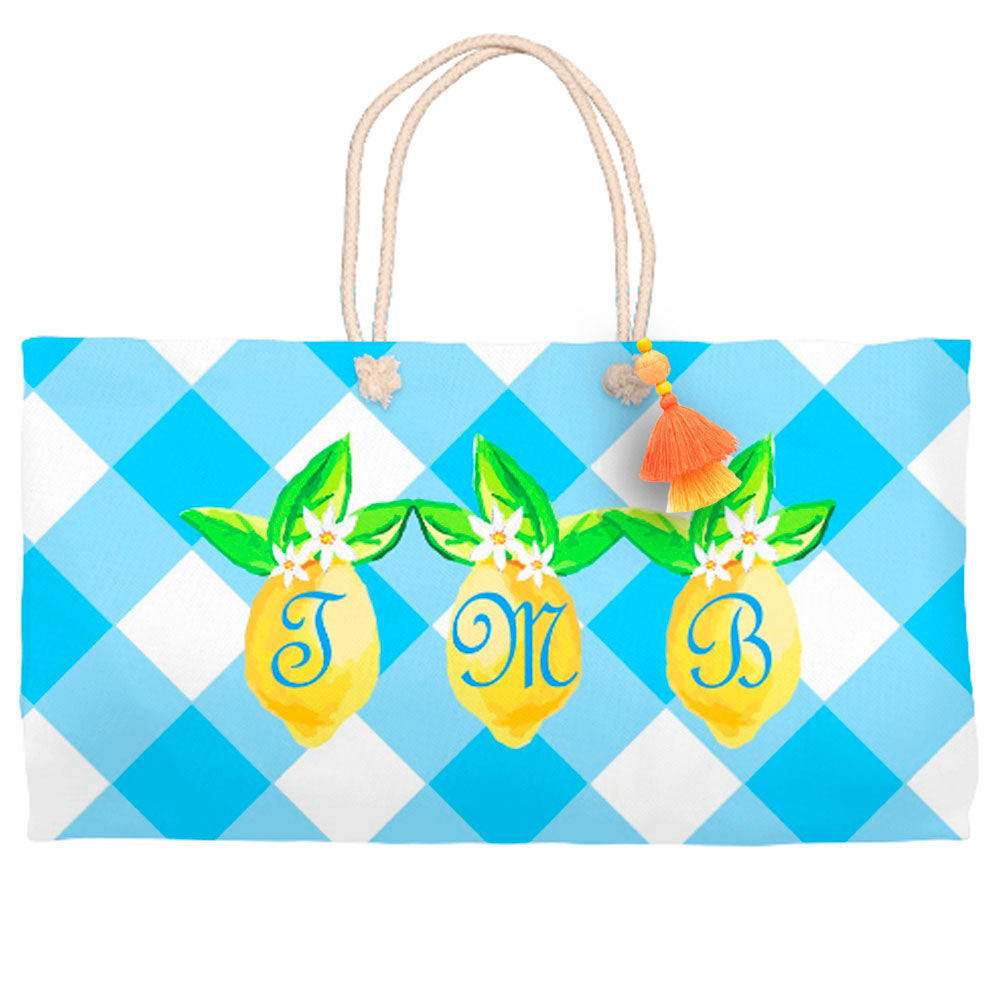 Lovely Lemon Tote Bag, Orchard Skies