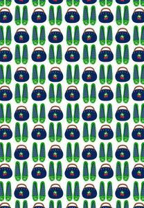 Bermuda Bag & Pappagallos Gift Wrap, Navy & Green