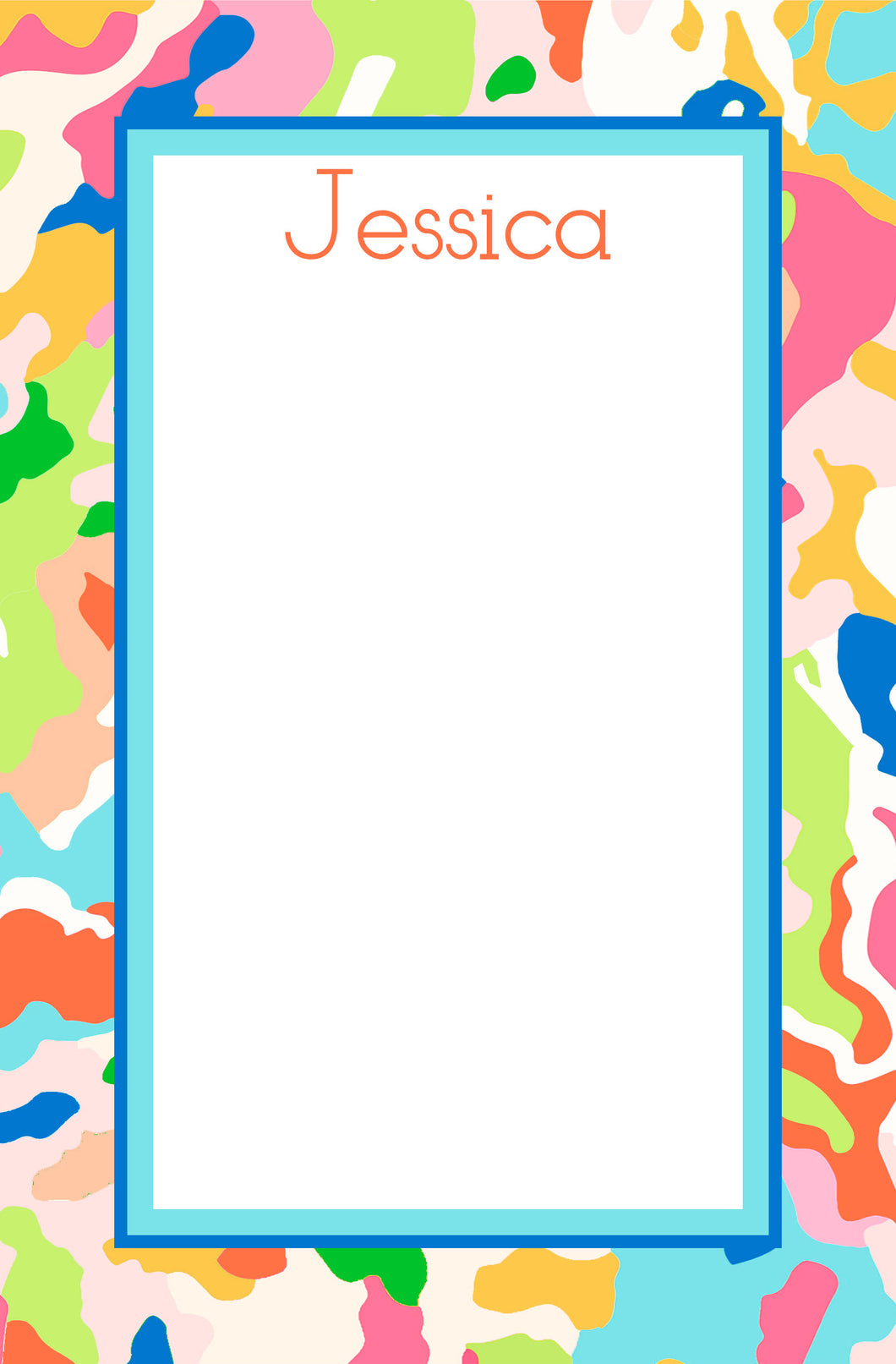Confetti Camo Personalized Notepad, Multiple Sizes Available