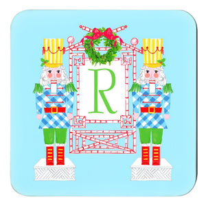 Nutcracker Sweet, Winter Blue, Personalized Cork Backed Holiday Coasters - Set of 4