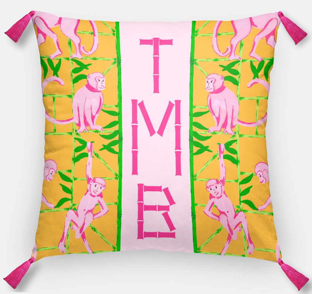 Monkey Trapeze Trellis, Tangerine, Personalized Pillow, 18