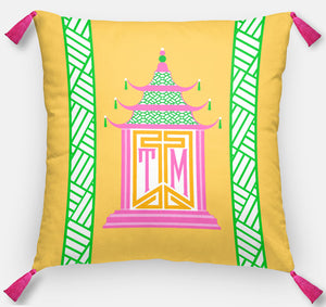 "Royal Pagoda Personalized Pillow, Topaz, 18""x18"" or 20""x20"""