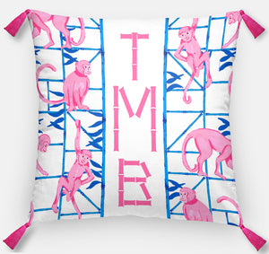 "Monkey Trapeze Trellis, Orchid, Personalized Pillow, 18""x18"" or 20""x20"""