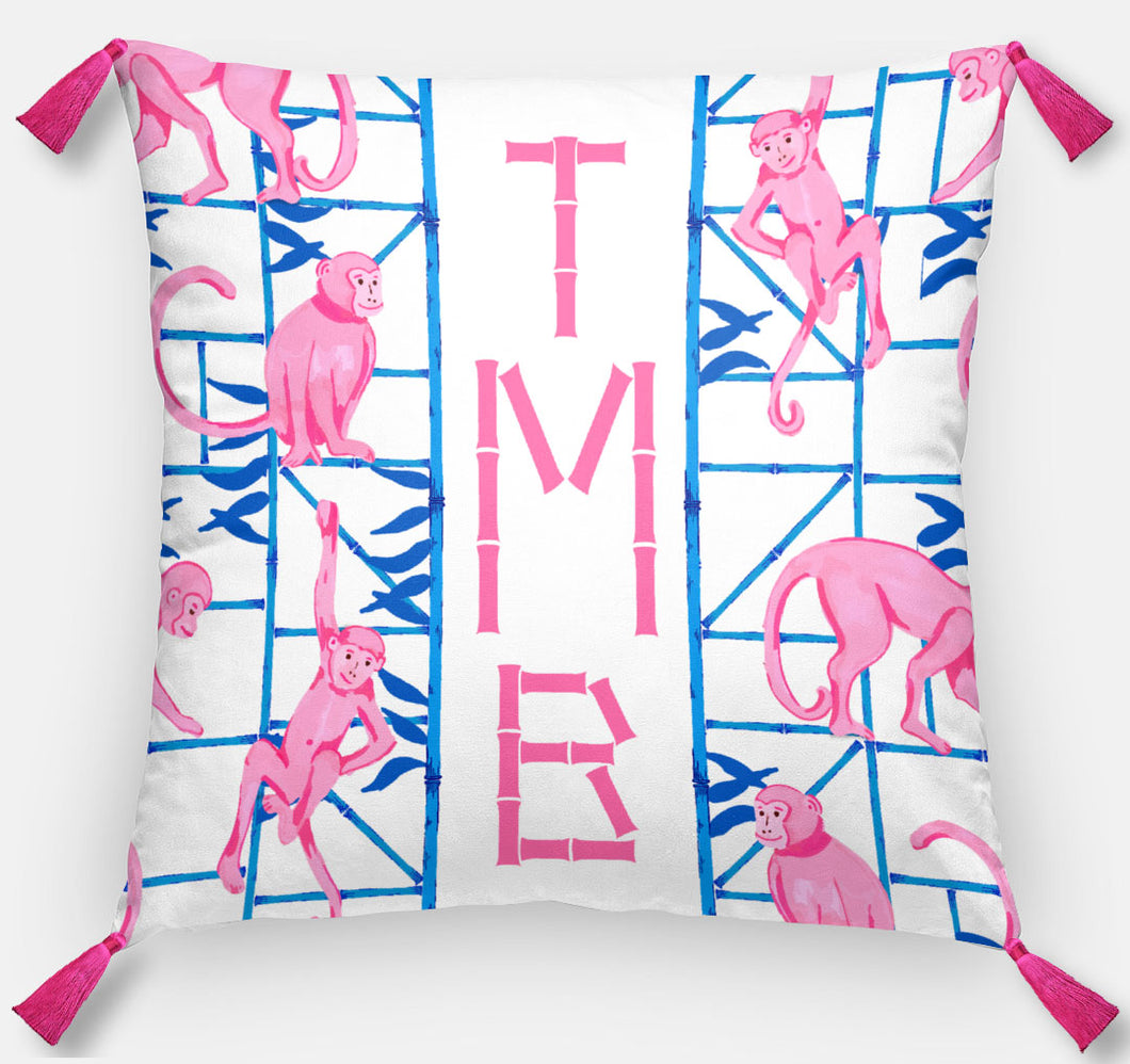 Monkey Trapeze Trellis, Orchid, Personalized Pillow, 18