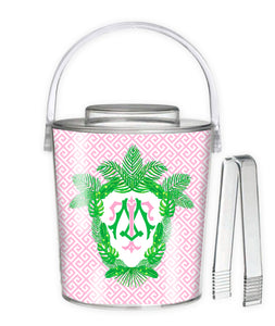 Tropical Palm Leaf Crest, Pink Sand, 3 Qt. Acrylic Ice Bucket