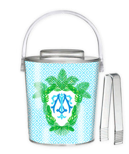 Tropical Palm Leaf Crest, Saltwater, 3 Qt. Acrylic Ice Bucket