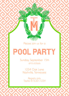 Tropical Palm Leaf Crest Invitation, Coral Reef