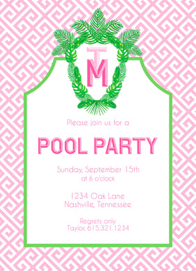 Tropical Palm Leaf Crest Invitation, Pink Sand