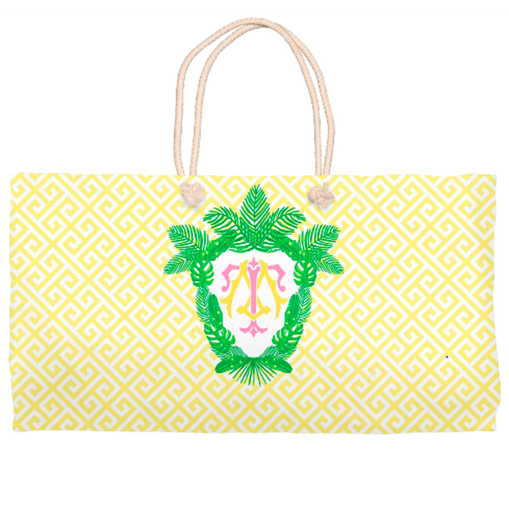 Tropical Palm Leaf Crest Tote Bag, Daybreak