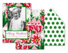 "Load image into Gallery viewer, Peppermint Posies Personalized Photo Holiday Card, 5"" x 7"" A7 Size"