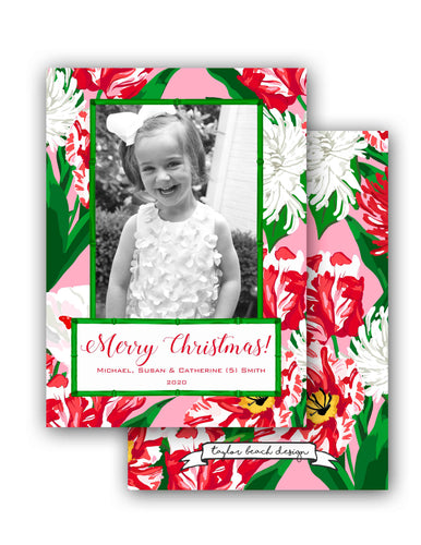 Peppermint Posies Personalized Photo Holiday Card, 5