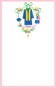 Graduation Crest Personalized Notepad, Multiple Sizes Available, Pink