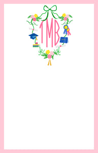 Graduation Crest with Monogram Notepad, Multiple Sizes Available, Pink