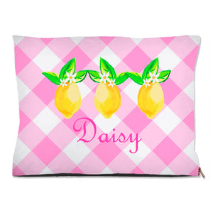 Lovely Lemon, Pink Lemonade, Personalized Pet Bed, (3) Sizes Available