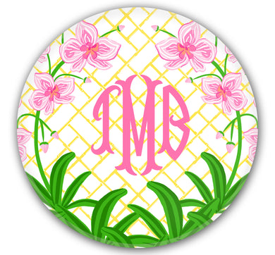 Pink Orchid Set of (4) Personalized, 10