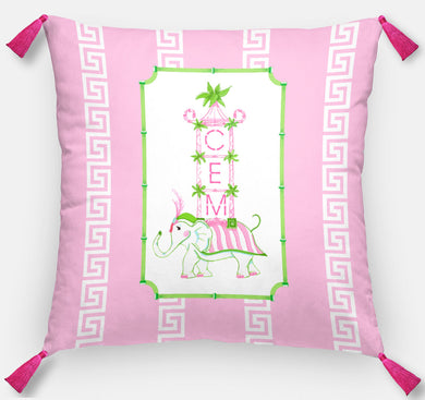 Pink Pagoda Parade Personalized Pillow