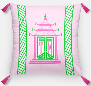 "Royal Pagoda Personalized Pillow, Pink Quartz,18""x18"" or 20""x20"""